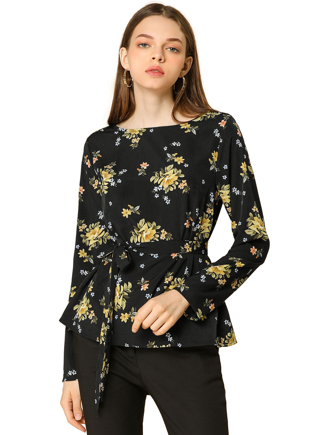 Allegra K Women's Long Sleeve Waist Belt Loose Floral Blouse Black S