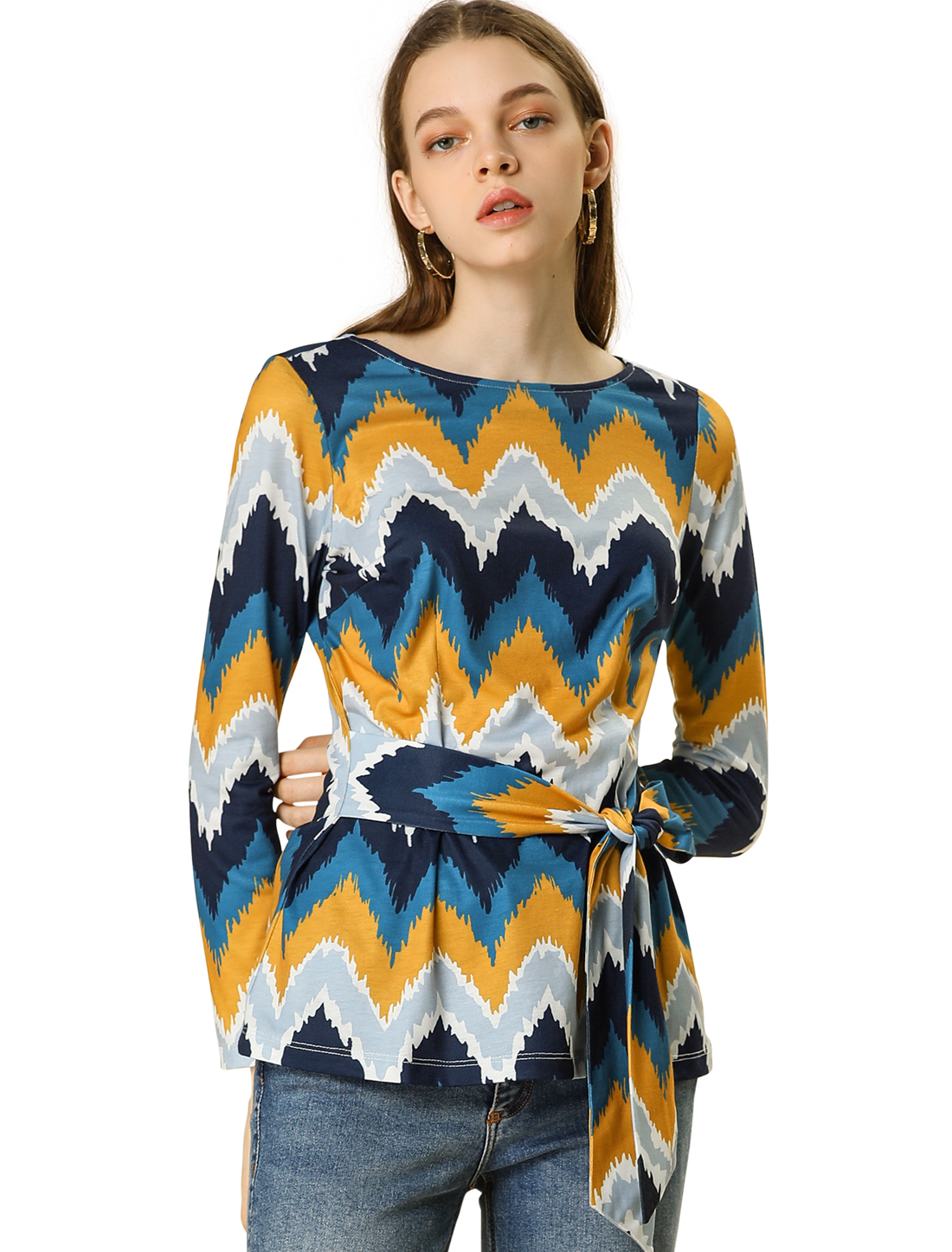 Allegra K Women's Zig-zag Pattern Round Neck Long Sleeve Belted Knit Top Blue M