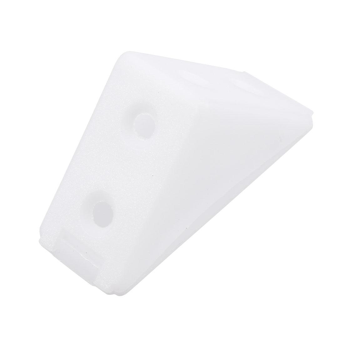 Shelf Cabinet Plastic Corner Braces 4 Holes Angle Brackets w Cover Cap, 30 Pcs
