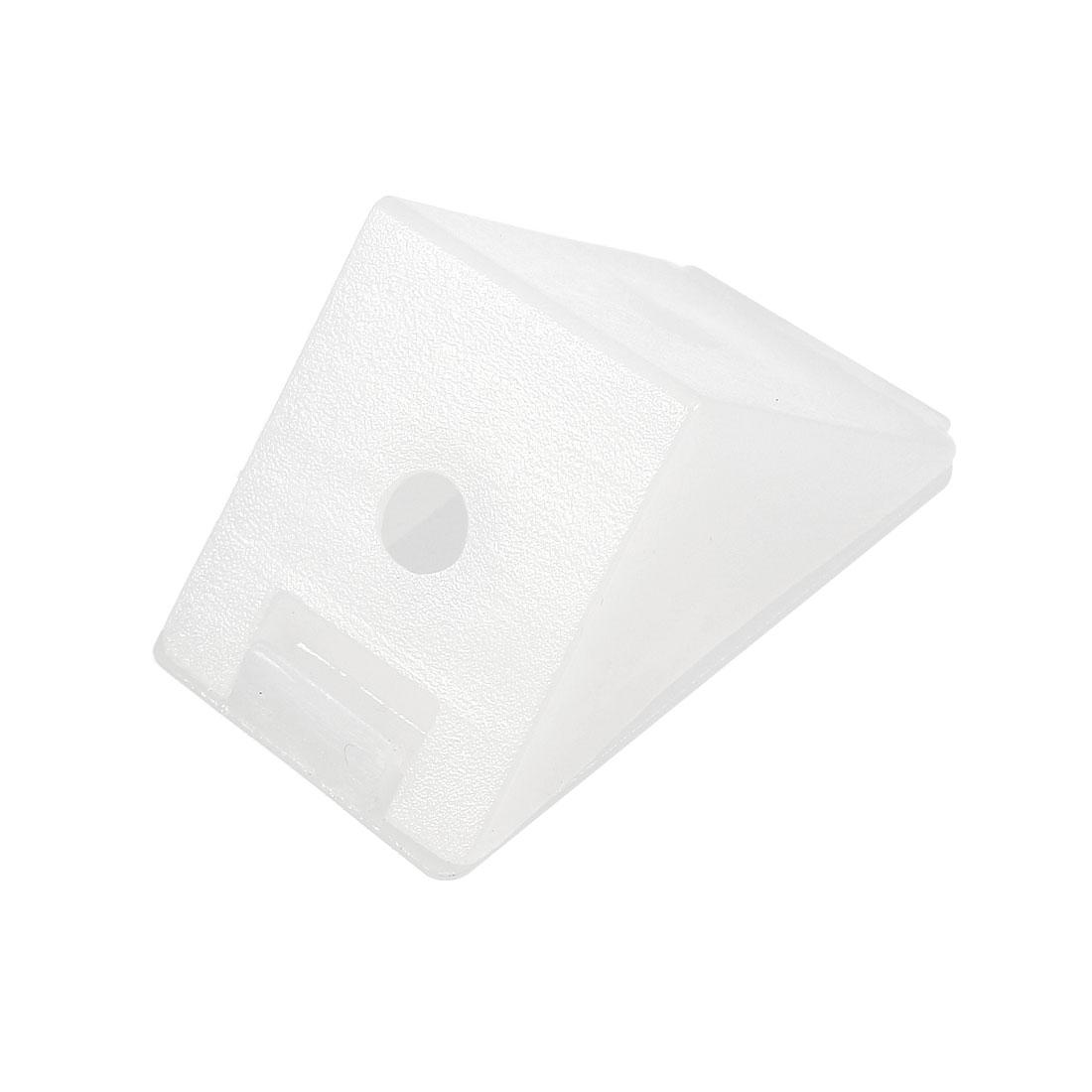 Shelf Cabinet Plastic Corner Braces 2 Holes Angle Brackets w Cover Cap, 20 Pcs