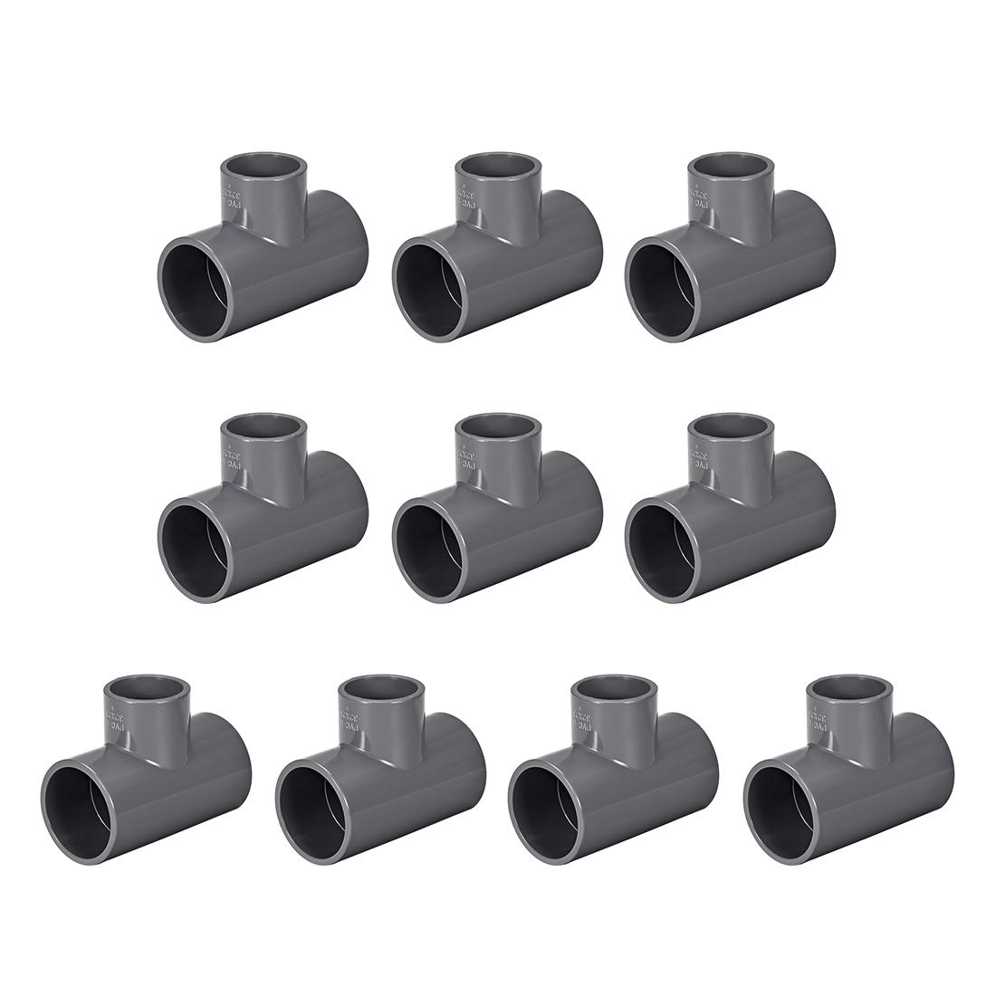 PVC Pipe Fitting Tee 401-Series 1-1/4-inch X 1-inch Socket Gray 10pcs
