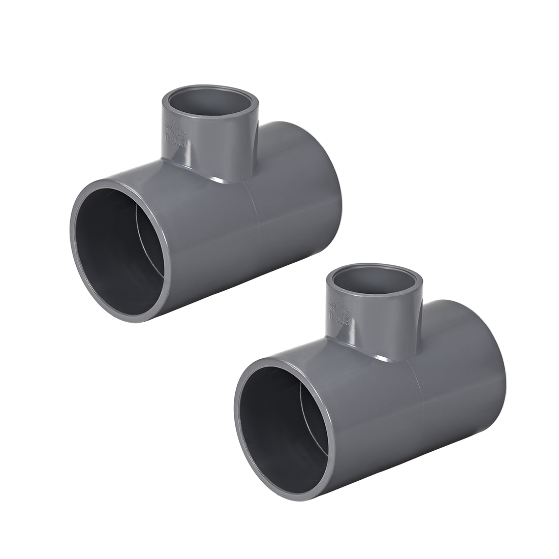 PVC Pipe Fitting Tee 401-Series Gray 1-inch X 1-1/2-inch Socket 2pcs