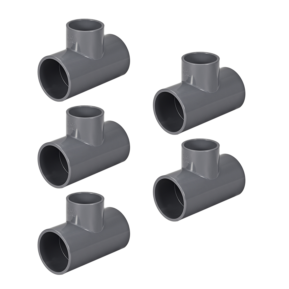 PVC Pipe Fitting Tee 401-Series Gray 1-1/2-inch X 1-1/4-inch Socket 5pcs
