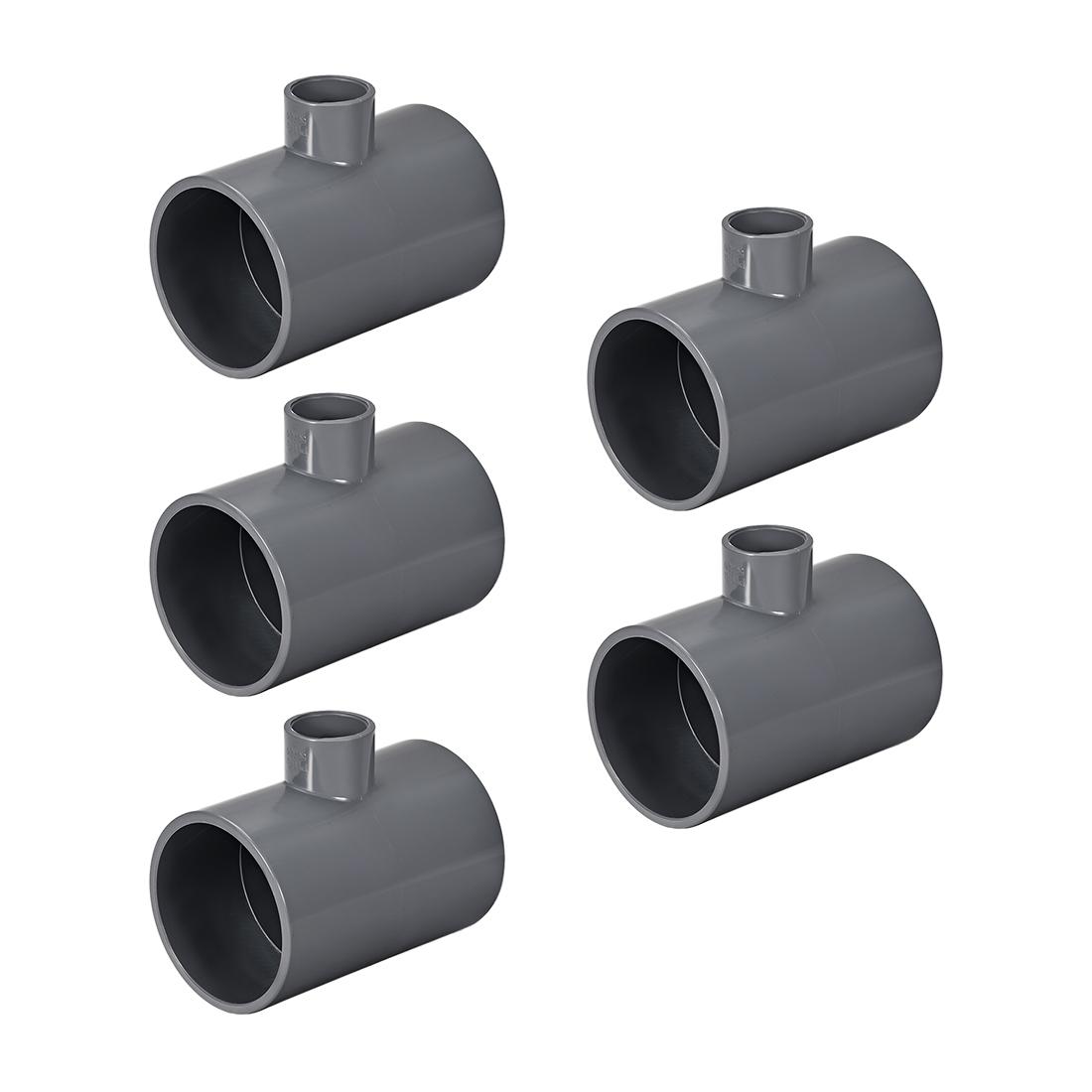 PVC Pipe Fitting Tee 401-Series Gray 3/4-inch X 2-inch Socket 5pcs