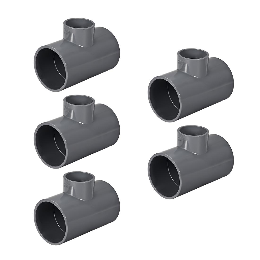 PVC Pipe Fitting Tee 401-Series Gray 2-inch X 1-1/4-inch Socket 5pcs