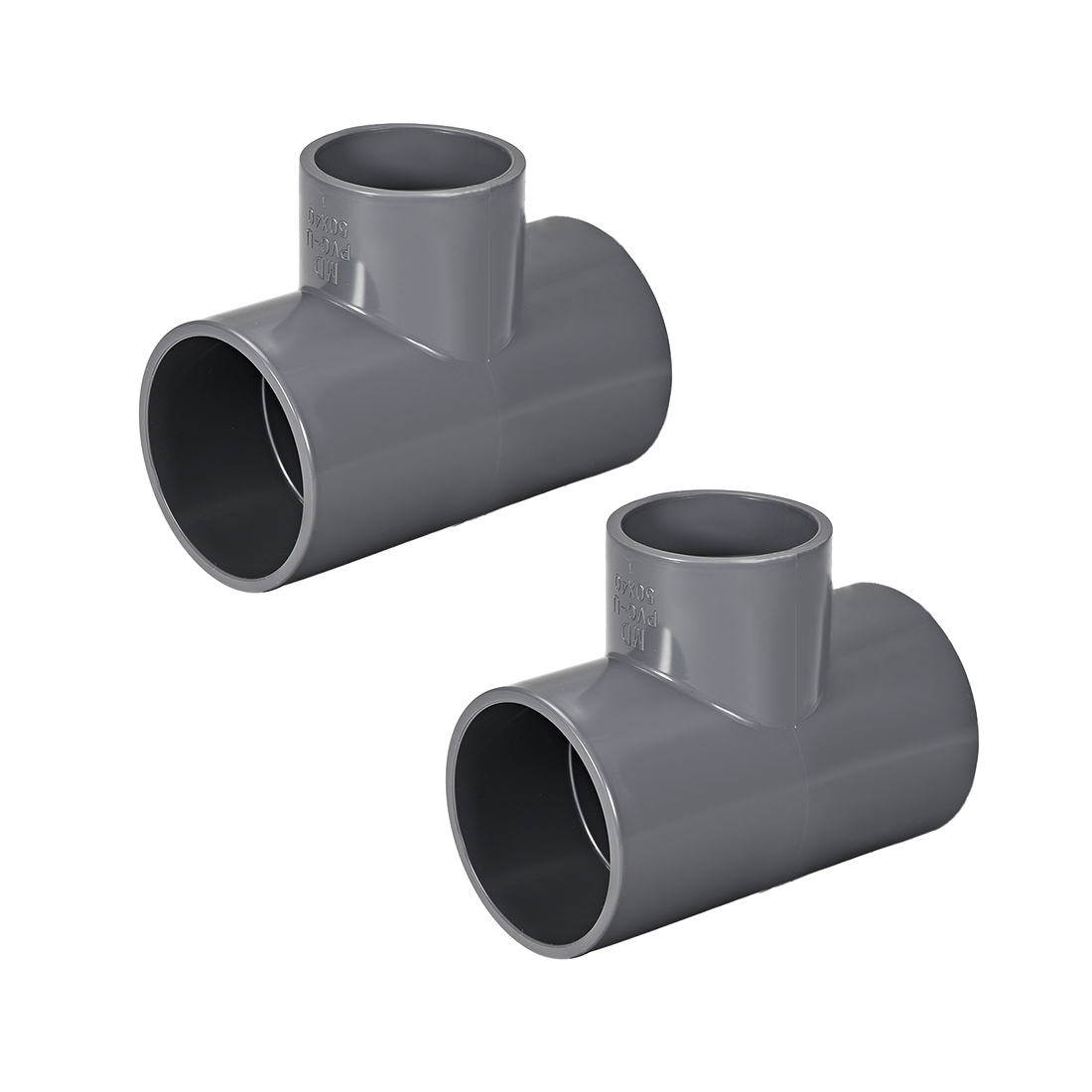 PVC Pipe Fitting Tee 401-Series Gray 1-1/2-inch X 2-inch Socket 2pcs