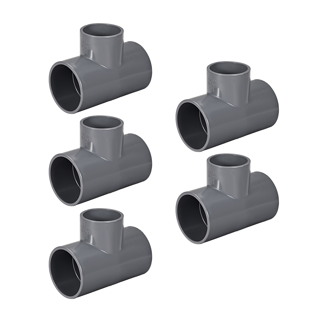 PVC Pipe Fitting Tee 401-Series Gray 1-1/2-inch X 2-inch Socket 5pcs