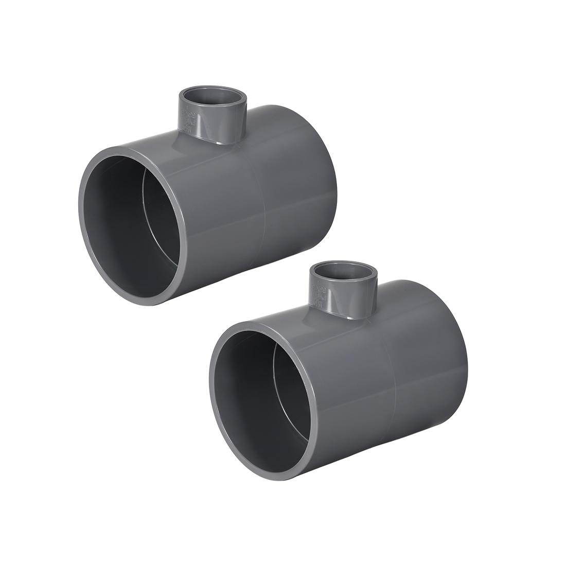 PVC Pipe Fitting Tee 401-Series Gray 1-inch x 2-1/2inch Socket 2pcs