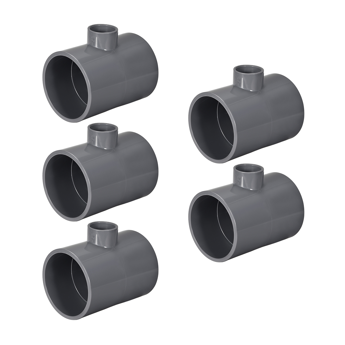 PVC Pipe Fitting Tee 401-Series Gray 1-inch x 2-1/2inch Socket 5pcs