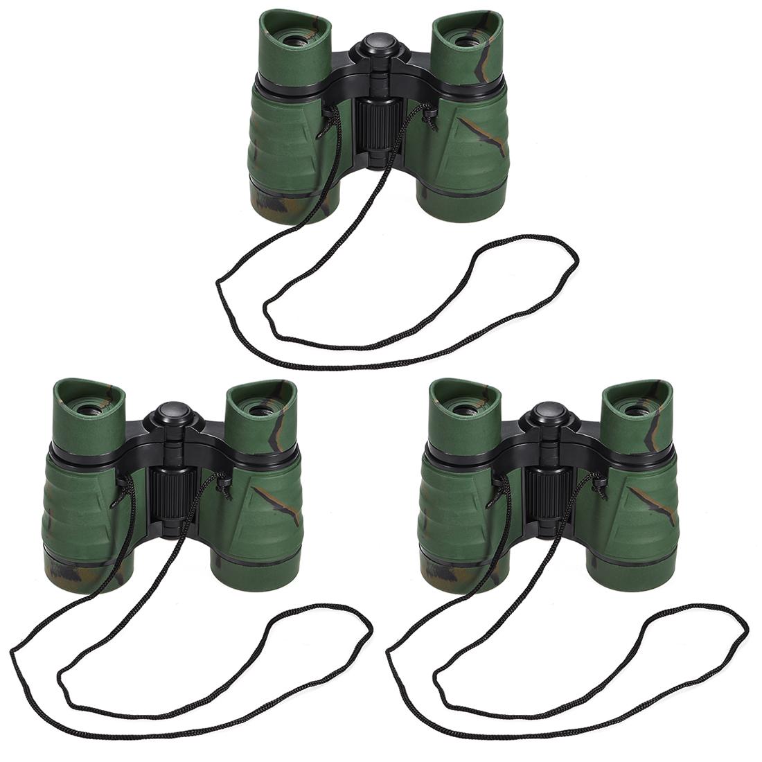 3pcs Toy Binoculars 4X30 Compact Foldable Binoculars Dark Green with Neck Strap