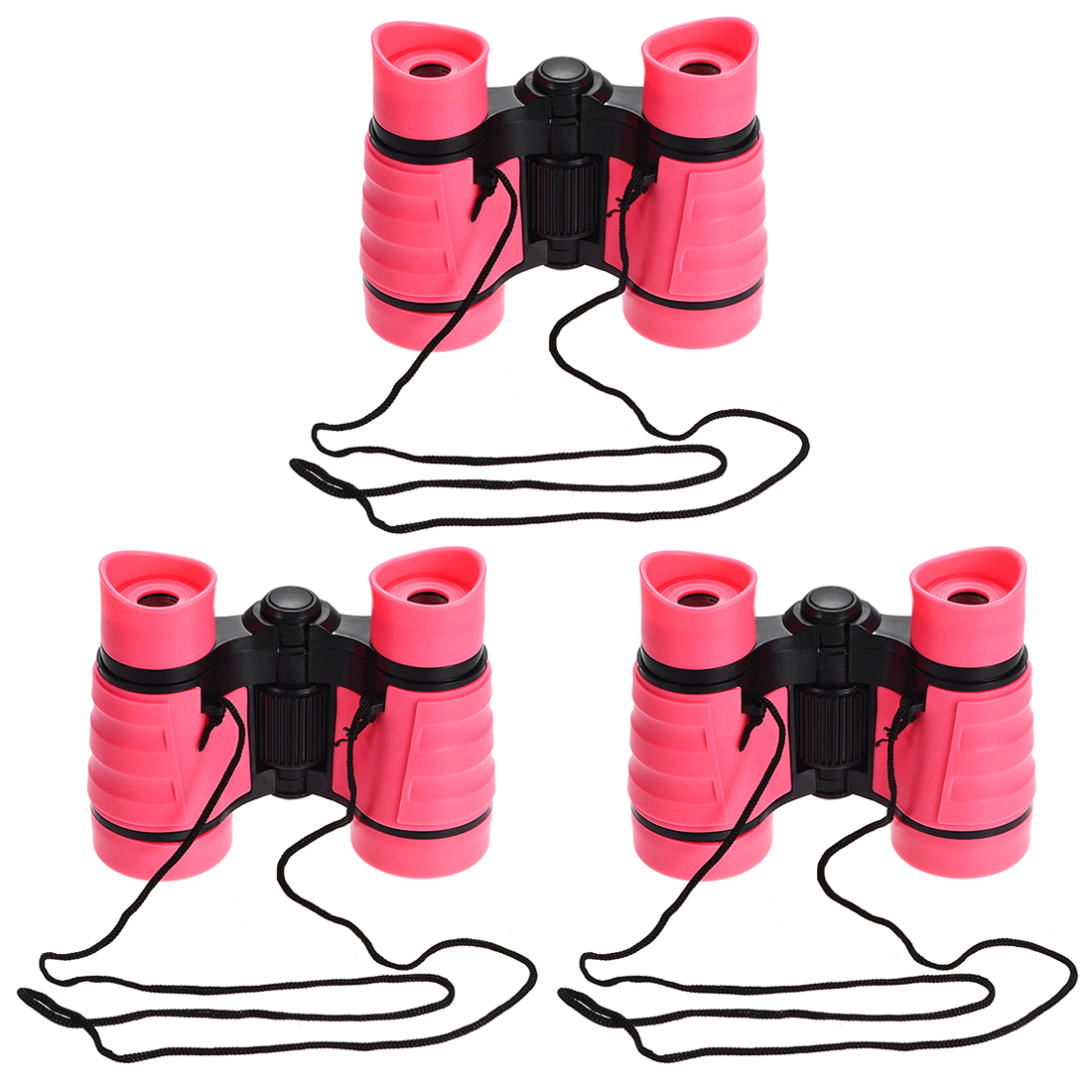 3pcs Toy Binoculars 4X30 Compact Foldable Binoculars Pink with Neck Strap