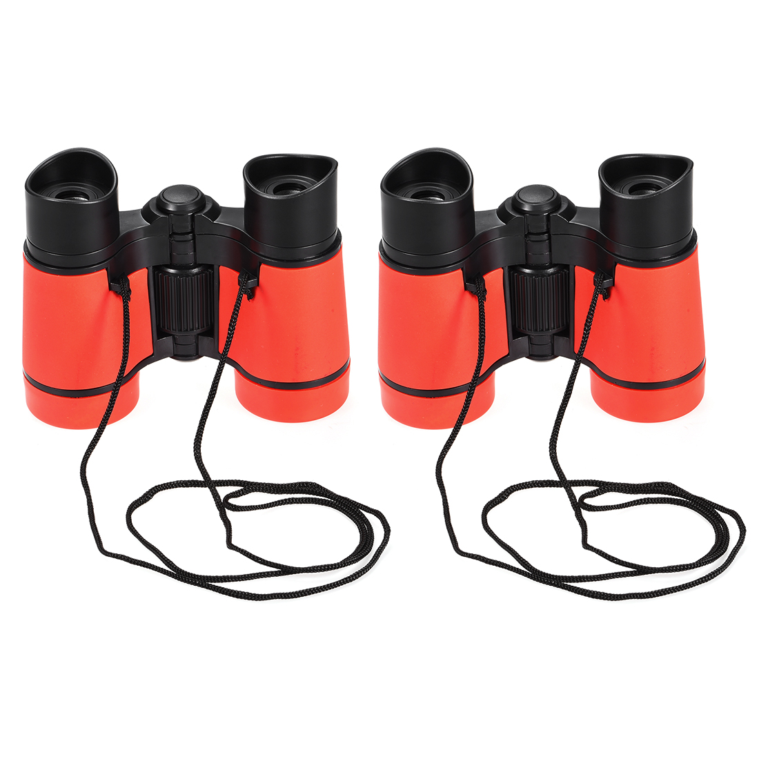 2pcs Toy Binoculars 4X30 Compact Foldable Binoculars Red with Neck Strap