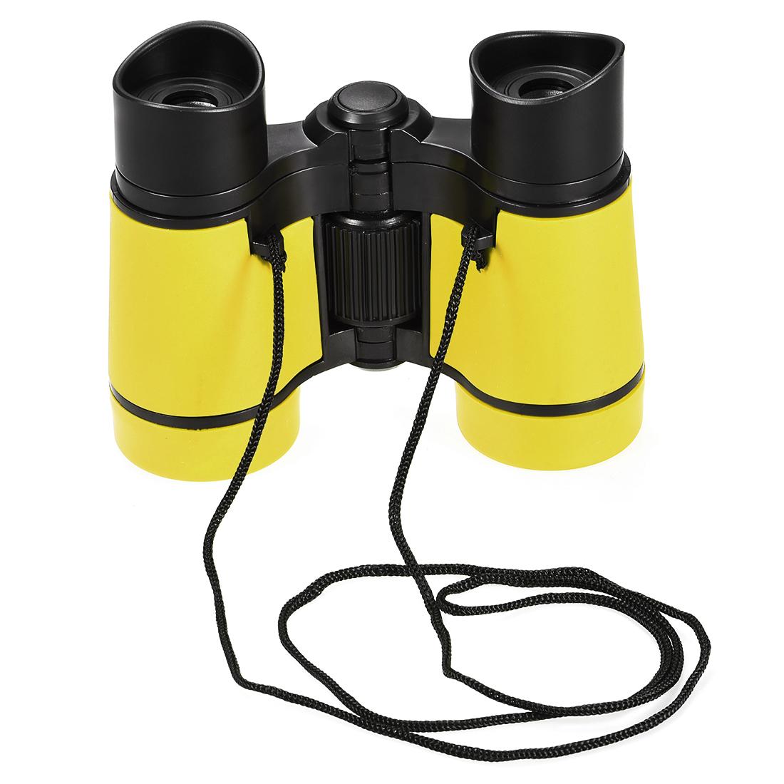 Toy Binoculars 4X30 Compact Foldable Binoculars Yellow with Neck Strap