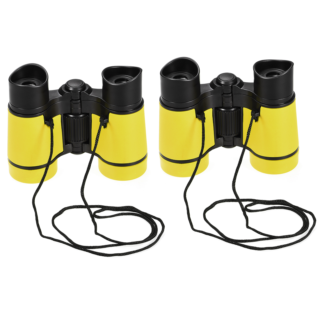 2pcs Toy Binoculars 4X30 Compact Foldable Binoculars Yellow with Neck Strap
