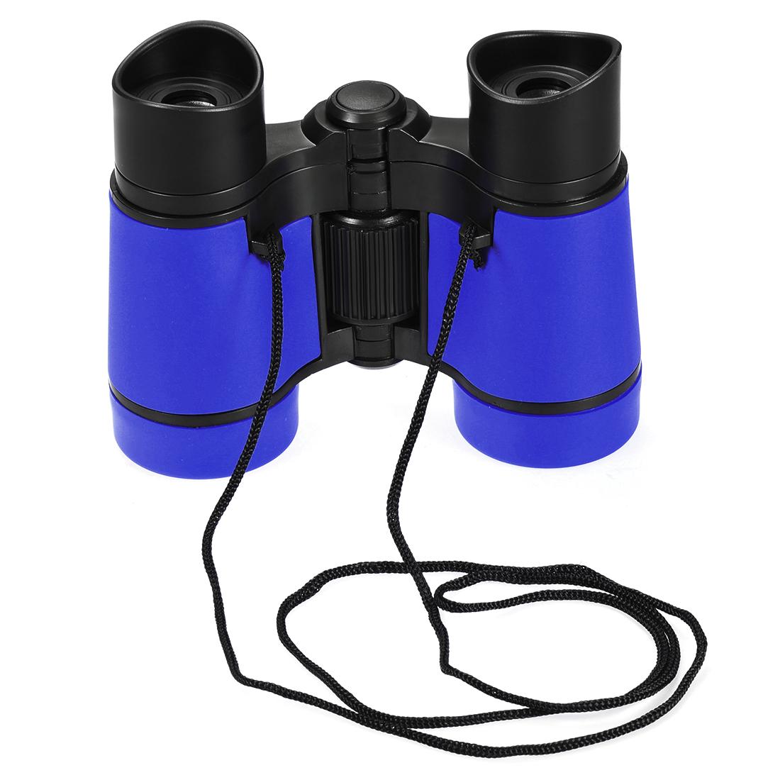Toy Binoculars 4X30 Compact Foldable Binoculars Shock Proof Blue with Neck Strap
