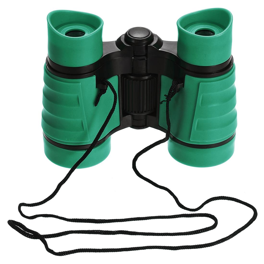 Toy Binoculars 4X30 Compact Foldable Binoculars Shockproof Green with Neck Strap
