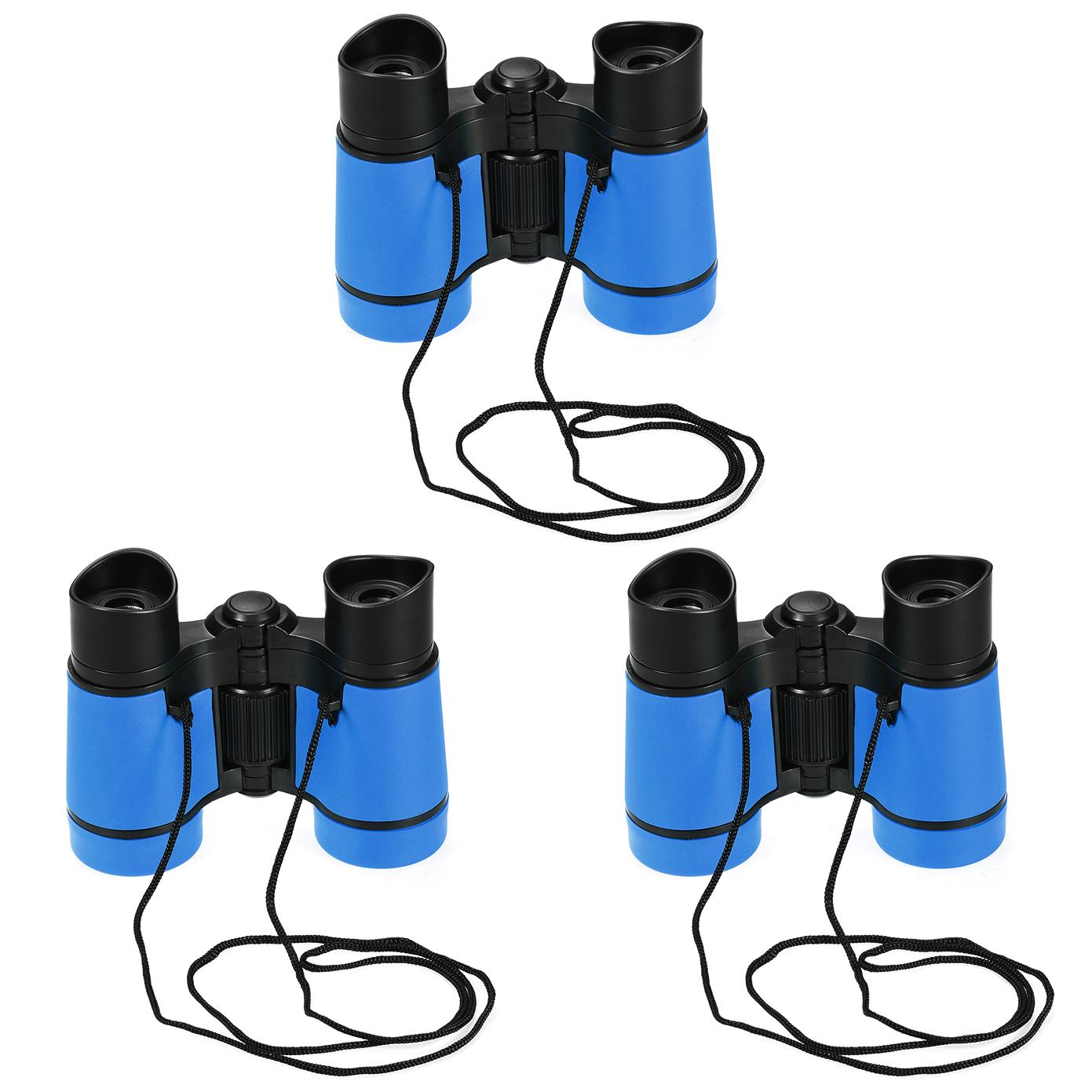 3pcs Toy Binoculars 4X30 Compact Foldable Binoculars Sky Blue with Neck Strap