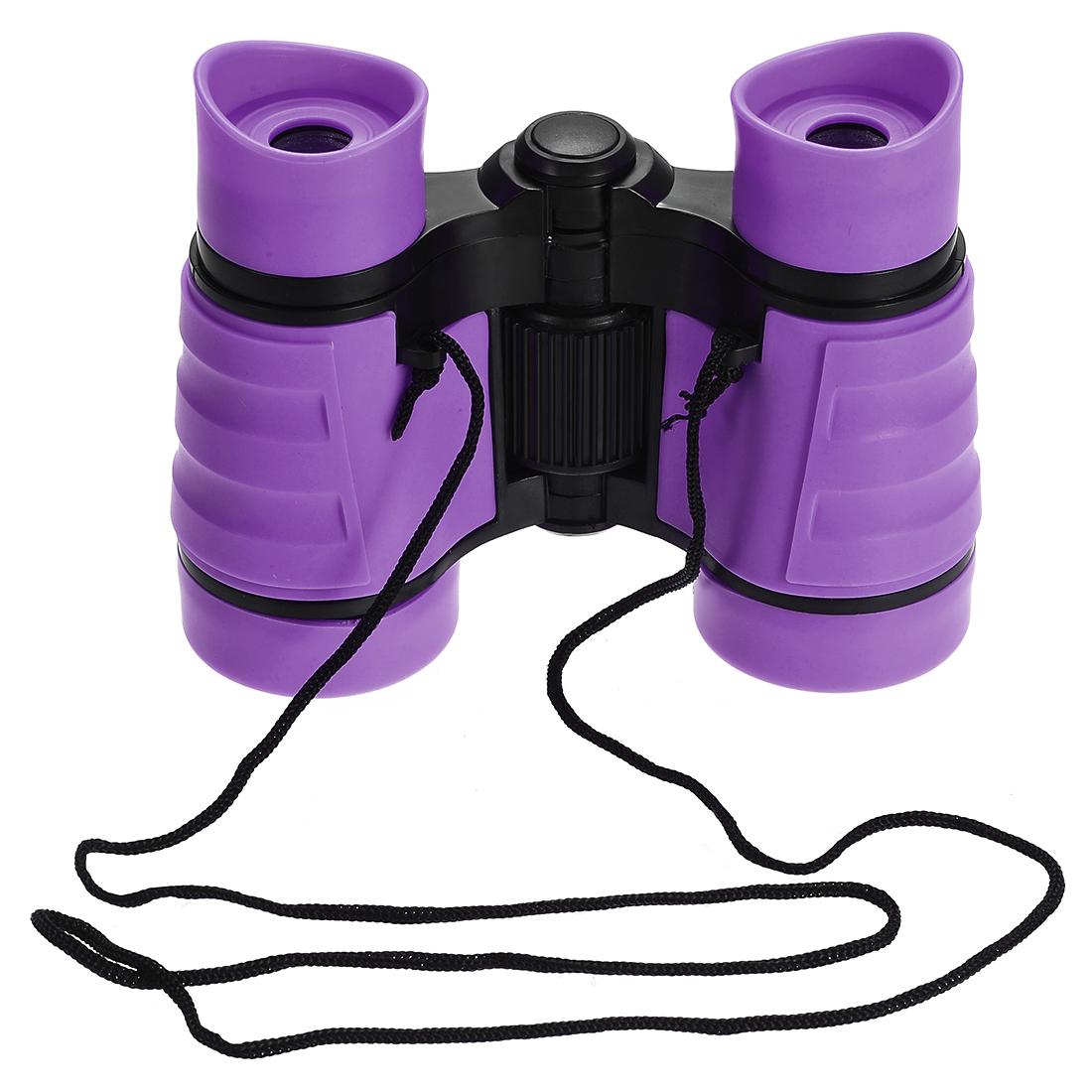 Toy Binoculars 4X30 Compact Foldable Binoculars Purple with Neck Strap