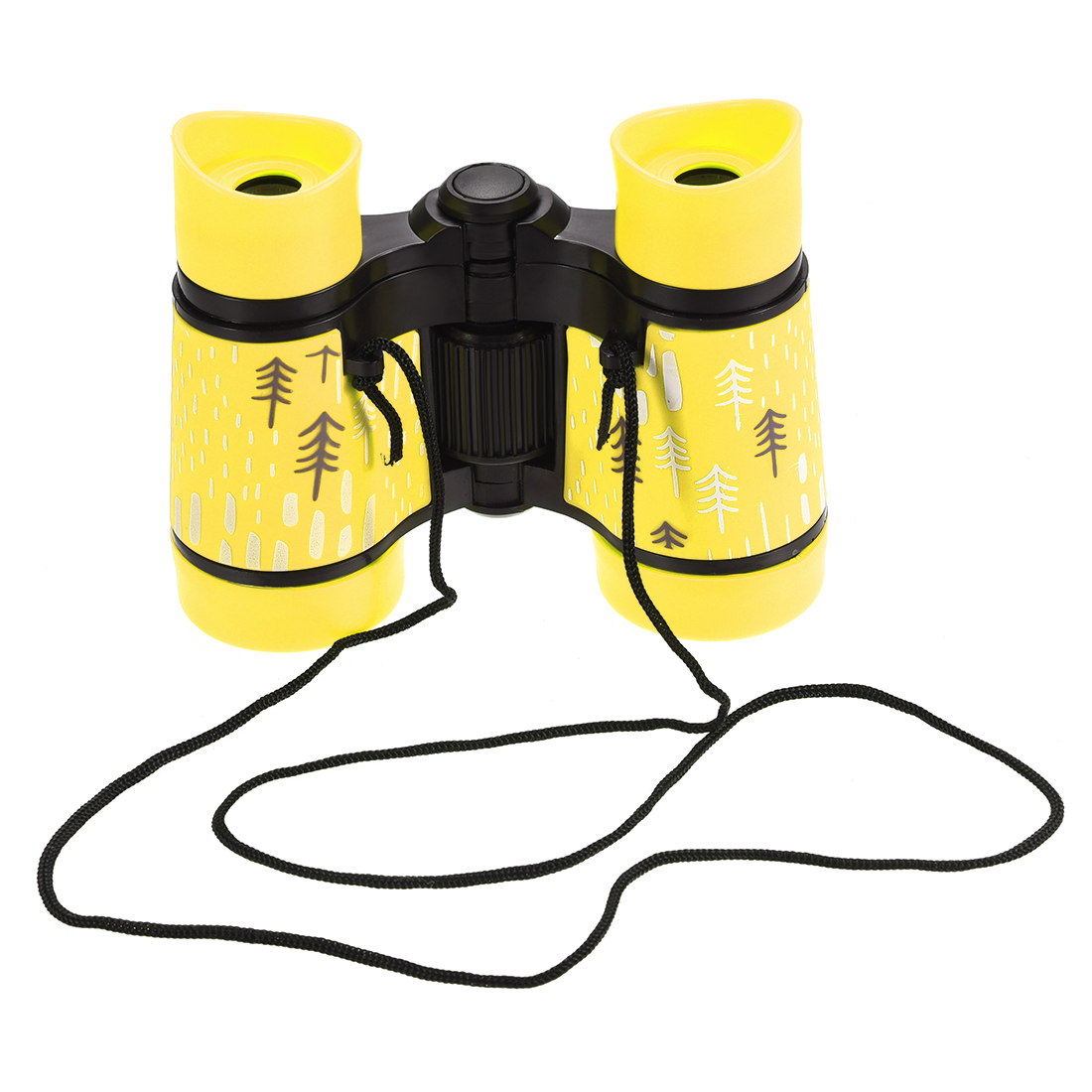 Toy Binoculars 4X30 Compact Folding Binoculars Shockproof Yellow with Neck Strap