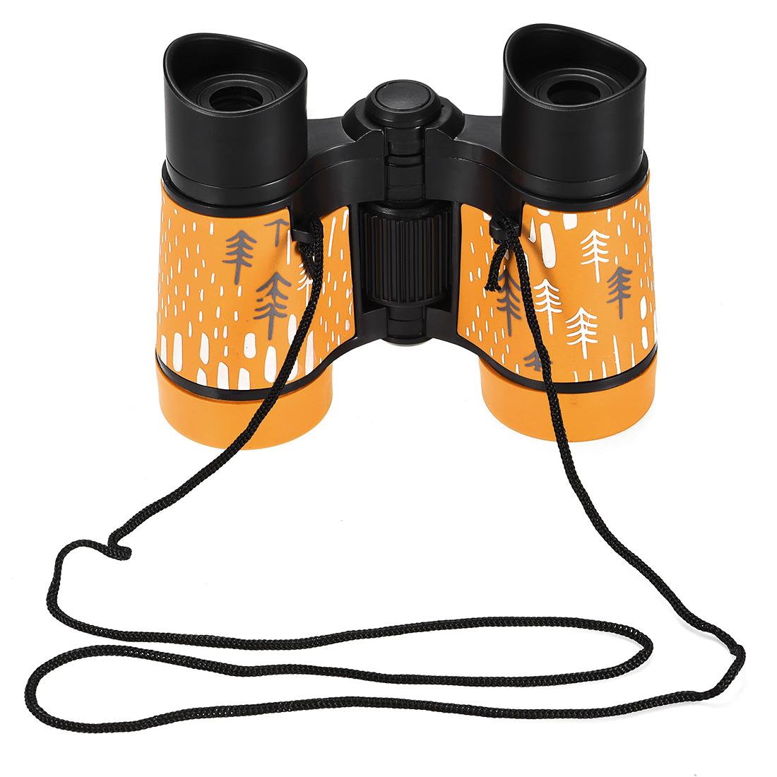 Toy Binoculars 4X30 Compact Folding Binoculars Shockproof Orange with Neck Strap