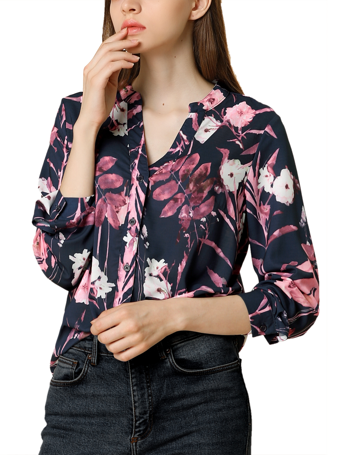 Allegra K Women's Button Down Stand Collar V Neck Floral Blouse Navy Blue L