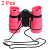 2pcs Toy Binoculars 4X30 Compact Foldable Binoculars Pink with Neck Strap