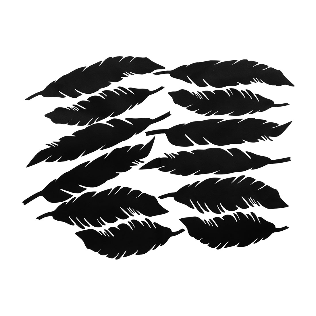 12pcs Feather Shape Wall Stickers Removable Art Decal for Living Room Black