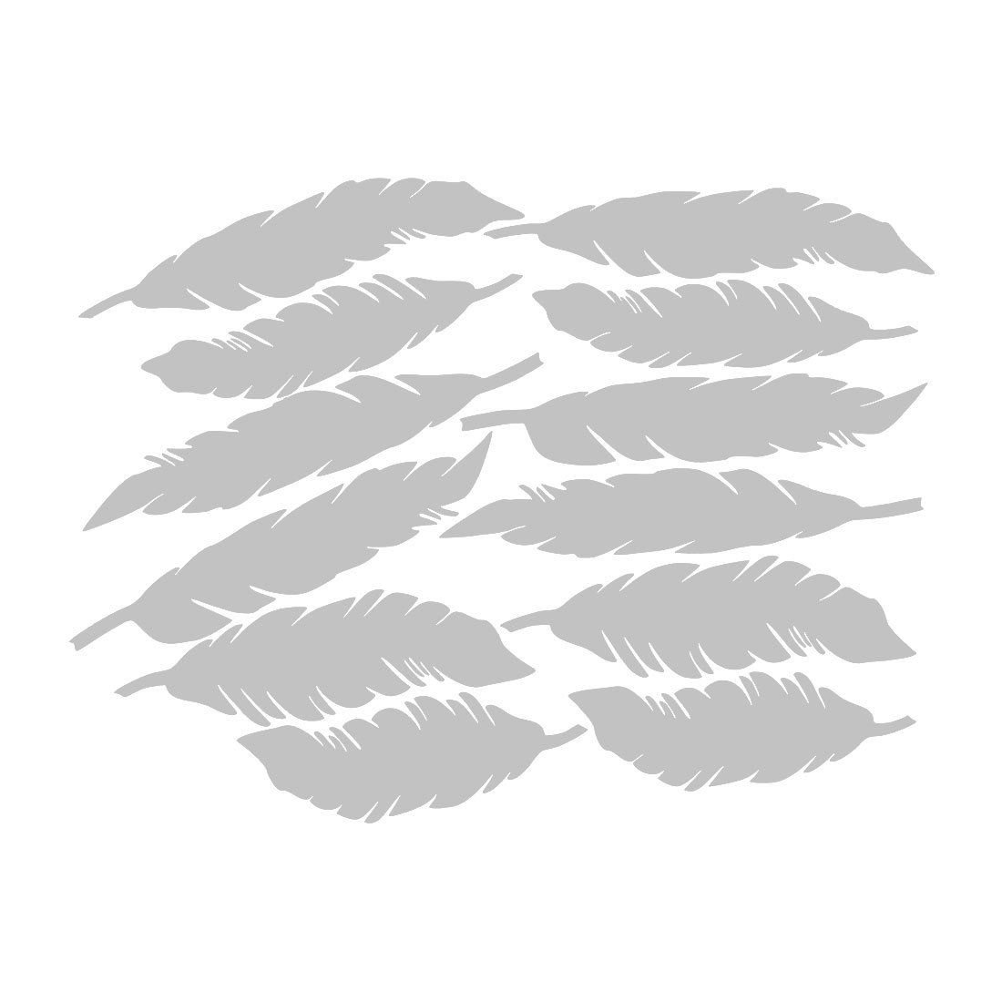 12pcs Feather Shape Wall Stickers Removable Decal for Living Room Silver Tone
