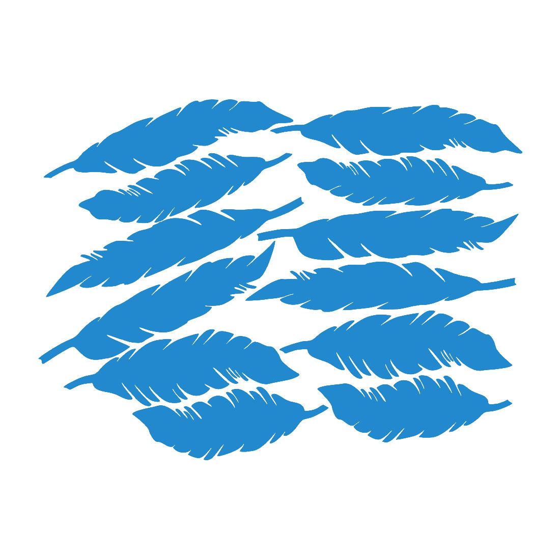 12pcs Feather Shape Wall Stickers Removable Art Decal for Living Room Blue