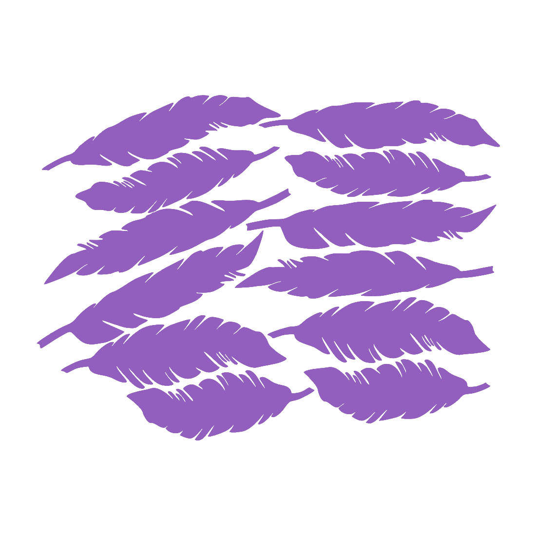 12pcs Feather Shape Wall Stickers Removable Art Decal for Living Room Purple