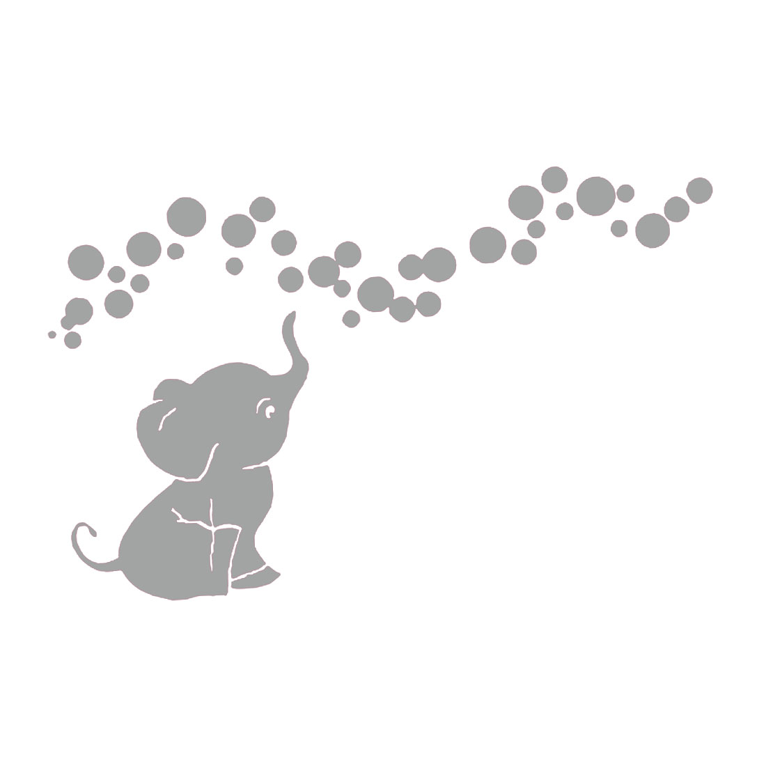 Elephant Pattern Wall Stickers Removable Art Decal for Living Room Grey