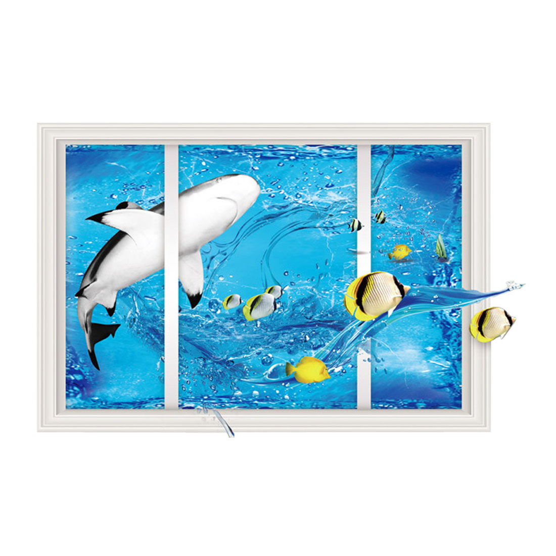 Underwater Animal Pattern Wall Stickers Self-stick Artificial Decal Living Room