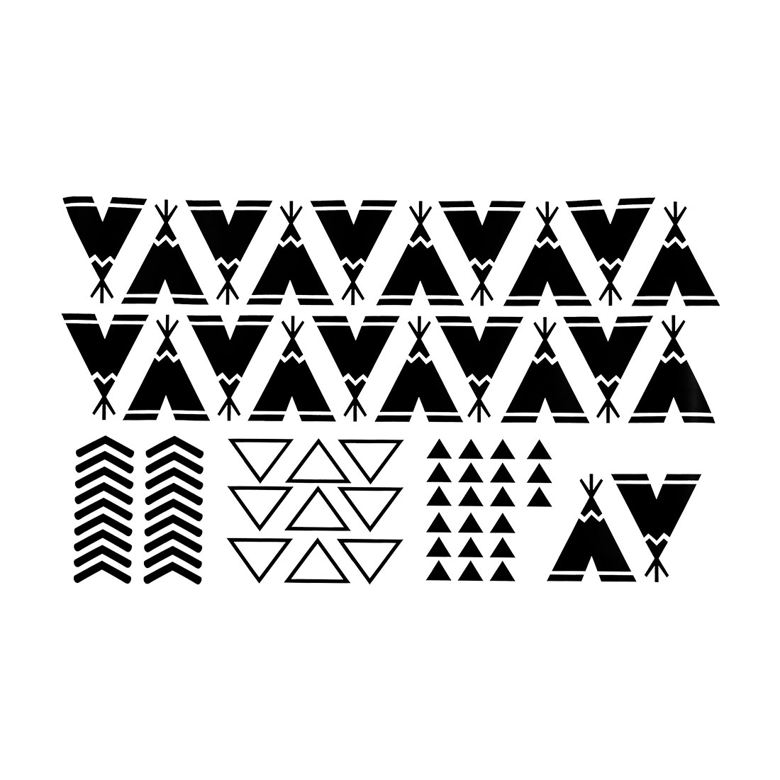 Black Teepee Pattern Wall Stickers Removable Decals for Living Room Bedroom