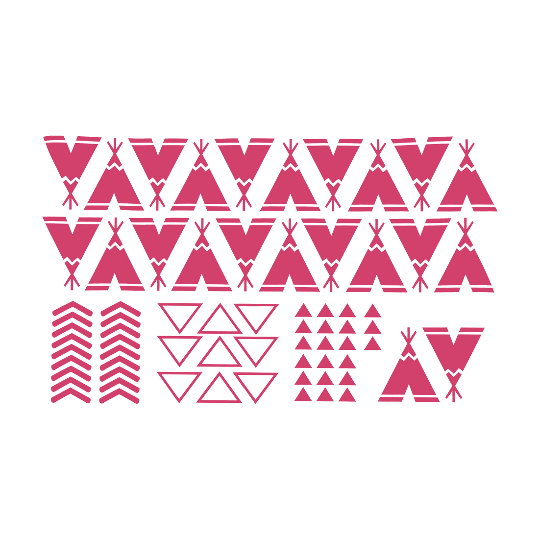Fuchsia Teepee Pattern Wall Stickers Removable Decals for Living Room Bedroom