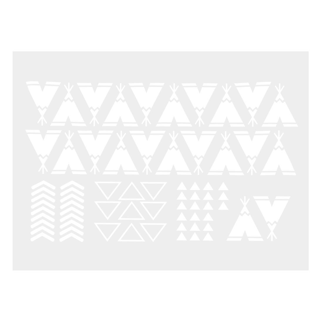 White Teepee Pattern Wall Stickers Removable Decals for Living Room Bedroom