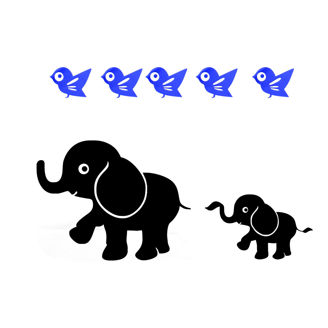 Elephant and Bird Pattern Wall Stickers Self-stick Artificial for Living Room