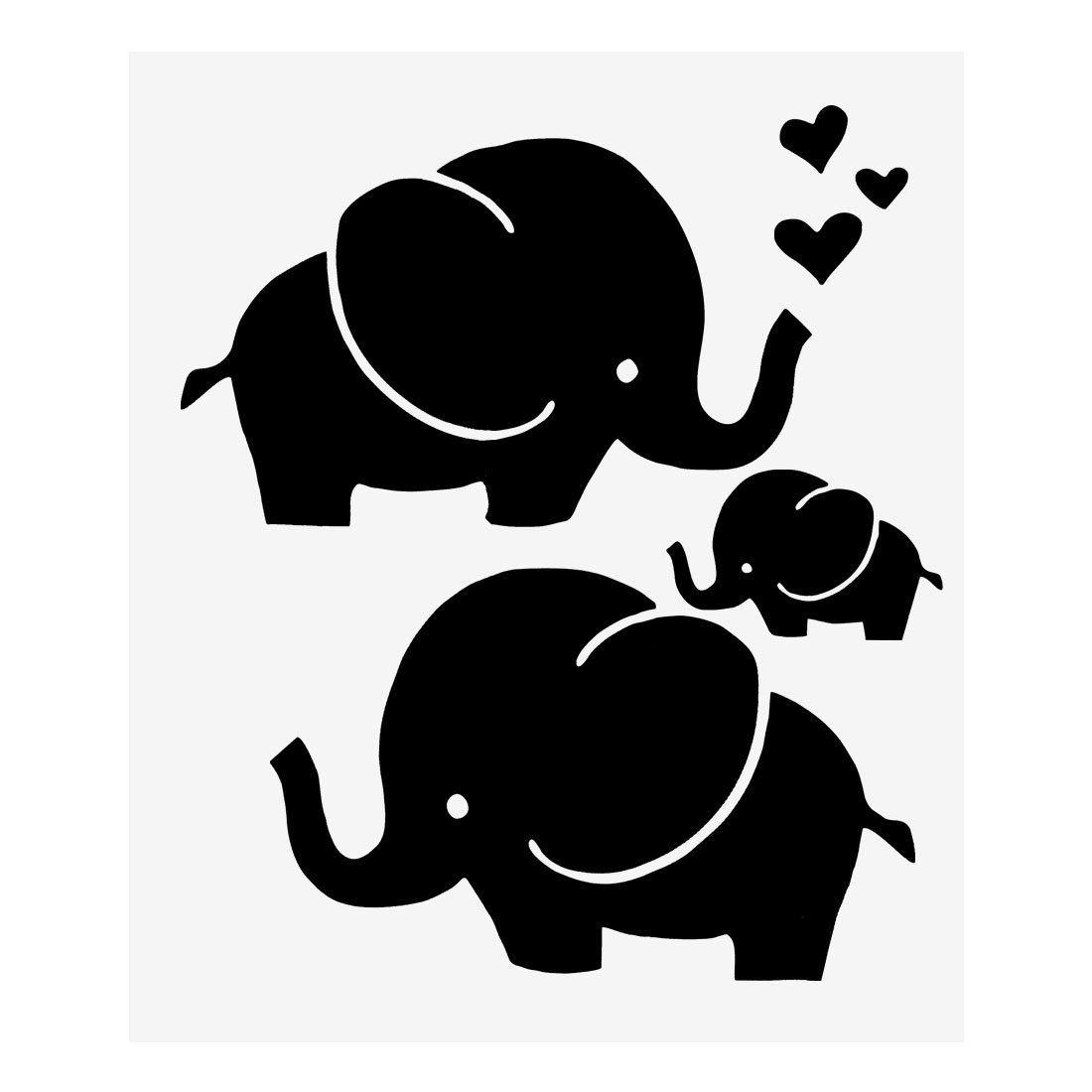 Black Elephant Pattern Wall Stickers Removable Art Decal for Living Room Bedroom