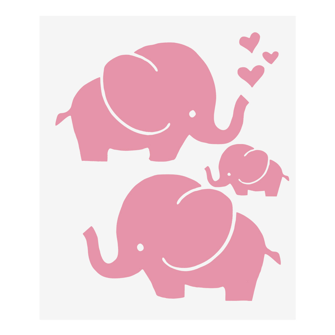 Pink Elephant Pattern Wall Stickers Removable Art Decal for Living Room Bedroom
