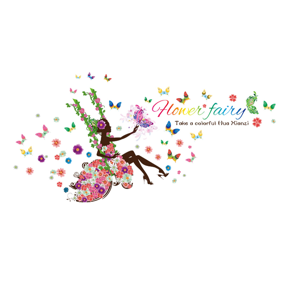 Flower Fairy Design Wall Sticker Removable Decal for Living Room Bedroom