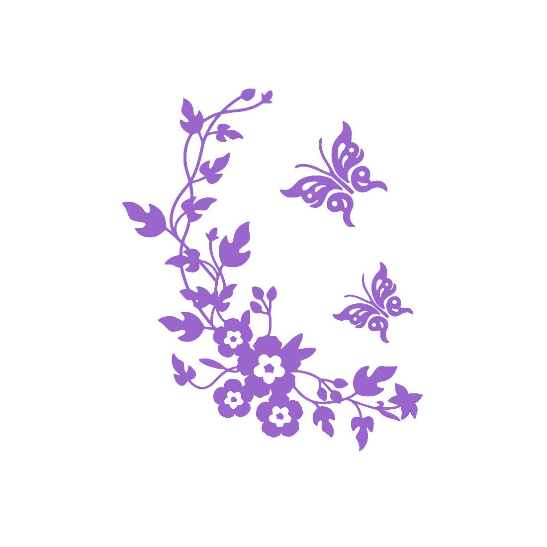 Butterfly Pattern Wall Sticker Paper Decals Bathroom Decoration Purple