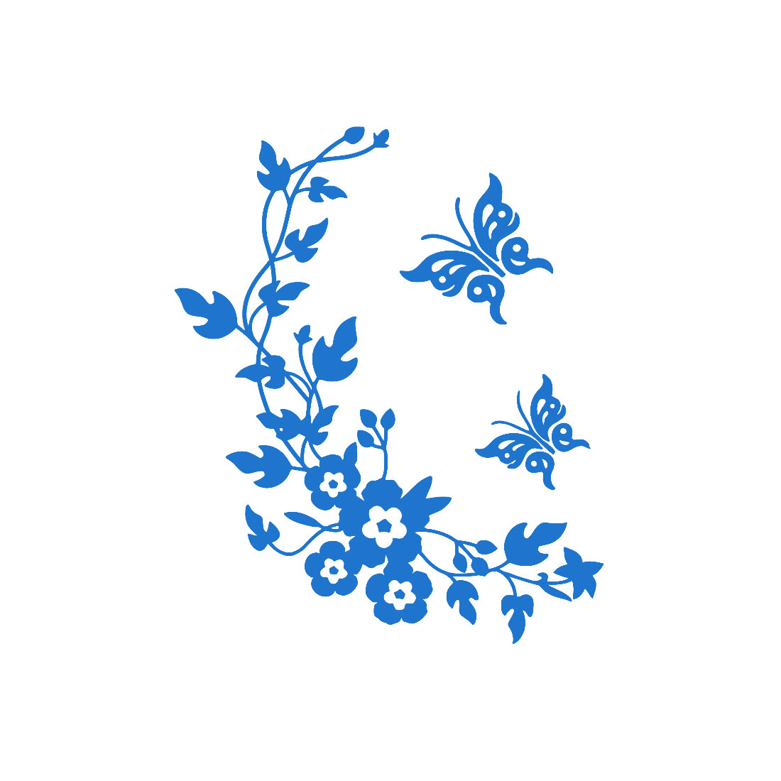Butterfly Pattern Wall Sticker Paper Decals Bathroom Decoration Blue