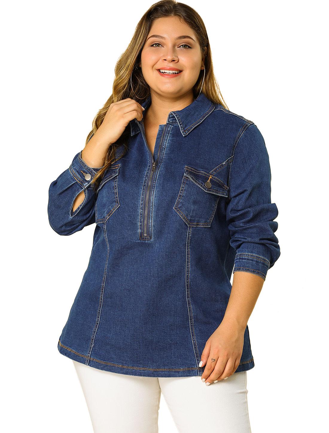 Agnes Orinda Women's Plus Size Zip Up Denim Jacket with Pockets Dark Blue 2X