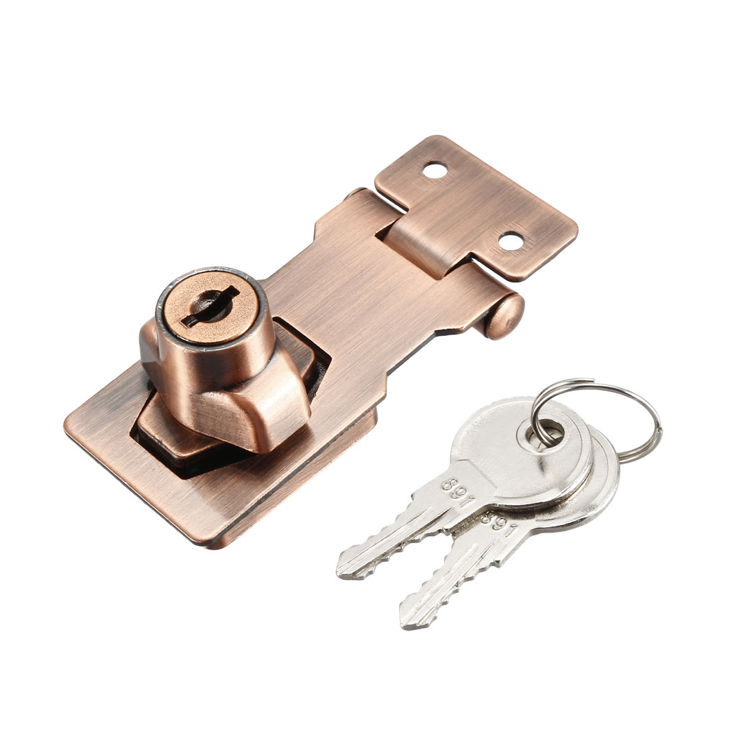 Keyed Hasp Lock 80mm Twist Knob Keyed Locking Hasp Red Copper Tone