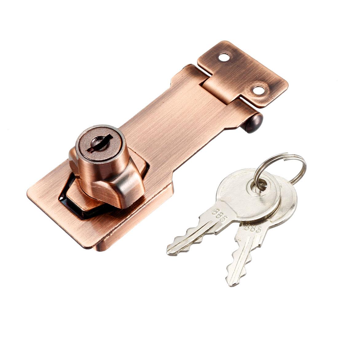 Keyed Hasp Lock 94mm Twist Knob Keyed Locking Hasp Red Copper Tone