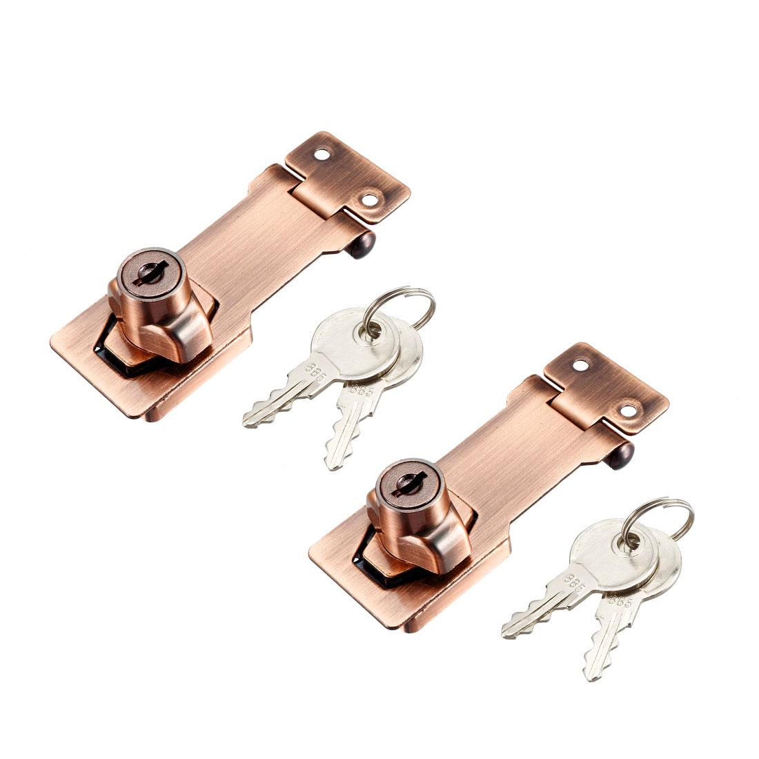 Keyed Hasp Lock 94mm Twist Knob Keyed Locking Hasp Red Copper Tone 2 Pcs