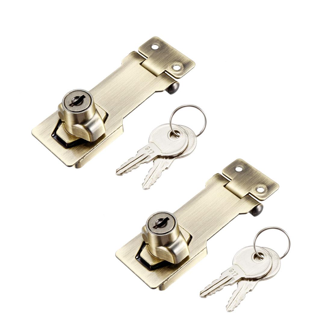 Keyed Hasp Lock 94mm Twist Knob Keyed Locking Hasp Bronze Tone 2 Pcs