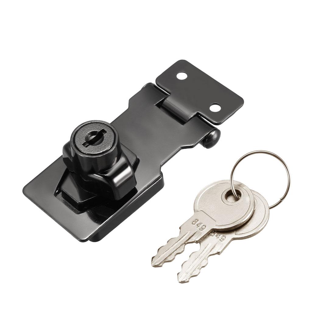 Keyed Hasp Lock 81mm Twist Knob Keyed Locking Hasp Bright Black