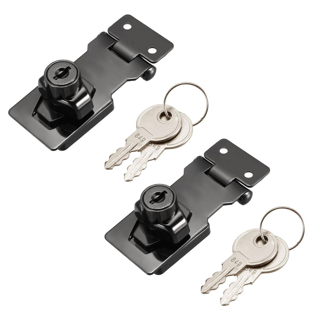 Keyed Hasp Lock 81mm Twist Knob Keyed Locking Hasp Bright Black 2 Pcs