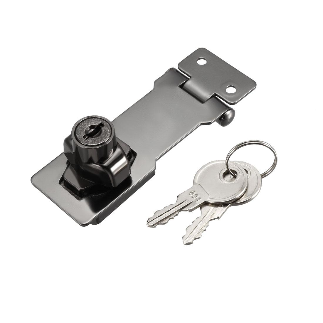 Keyed Hasp Lock 95mm Twist Knob Keyed Locking Hasp Bright Black