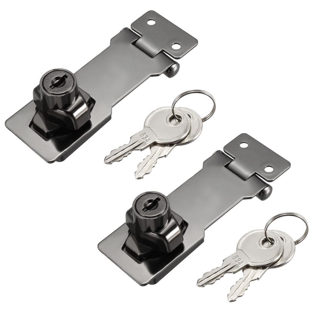 Keyed Hasp Lock 95mm Twist Knob Keyed Locking Hasp Bright Black 2 Pcs